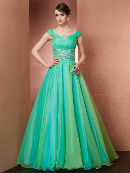 Baljurk Off the Shoulder Mouwloos Kralenwerk Lang Satijn Quinceanera Jurken