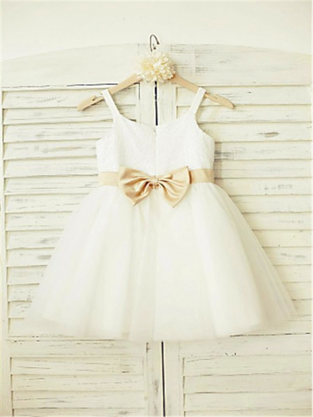 A-line/Princess Spaghetti Straps Sleeveless Bowknot Floor-Length Tulle Flower Girl Dresses